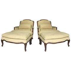 Pair of Vintage Louis XV Style Bergère Chairs and Ottomans