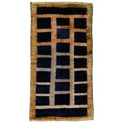 20th Century Dark Blue and Beige, Natural Wool, Turkish Tribal Tulu Rug, 1960s