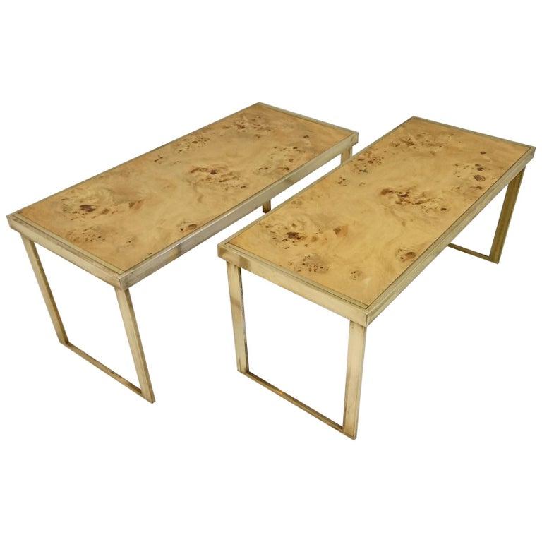 Multipurpose Italian Burl and Brass Shelf, Coffee Table or Side Table