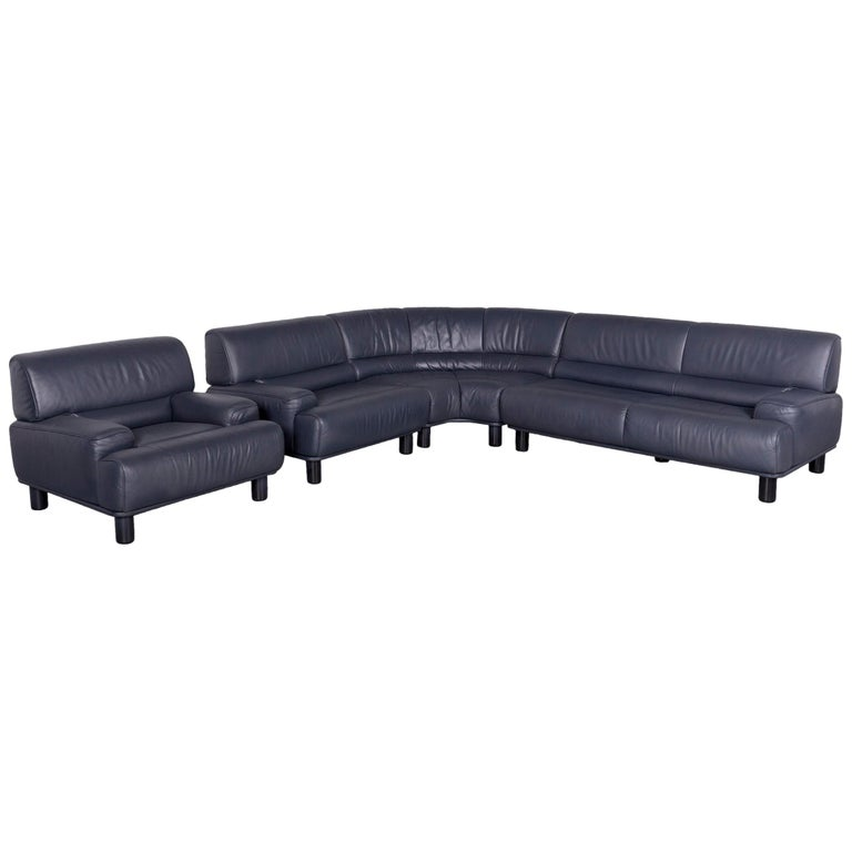 De Sede DS 18 Designer Leather Corner Couch Armchair Set Sofa