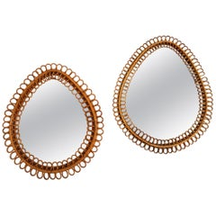 Pair of Drop Rattan Mirrors from Bonacina, Italy, 1950