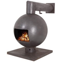 Brutalist Spherical Fireplace by Dries Kreijkamp in Wrought Iron