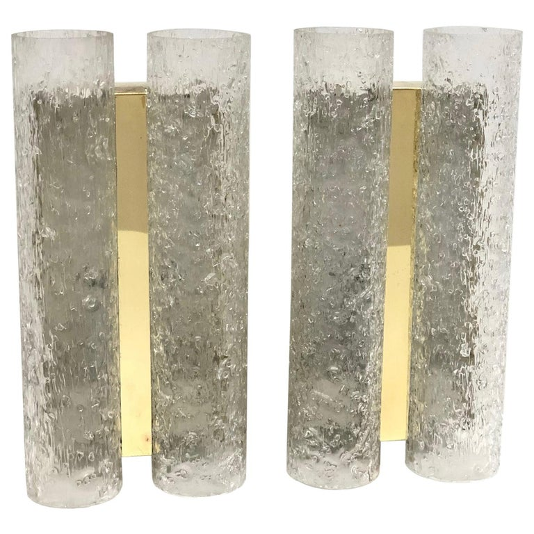 Pair of 1960s German Brass Doria Glass Tubes Sconces