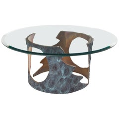 Pia Manu Coffee Table in Solid Bronze and Glass