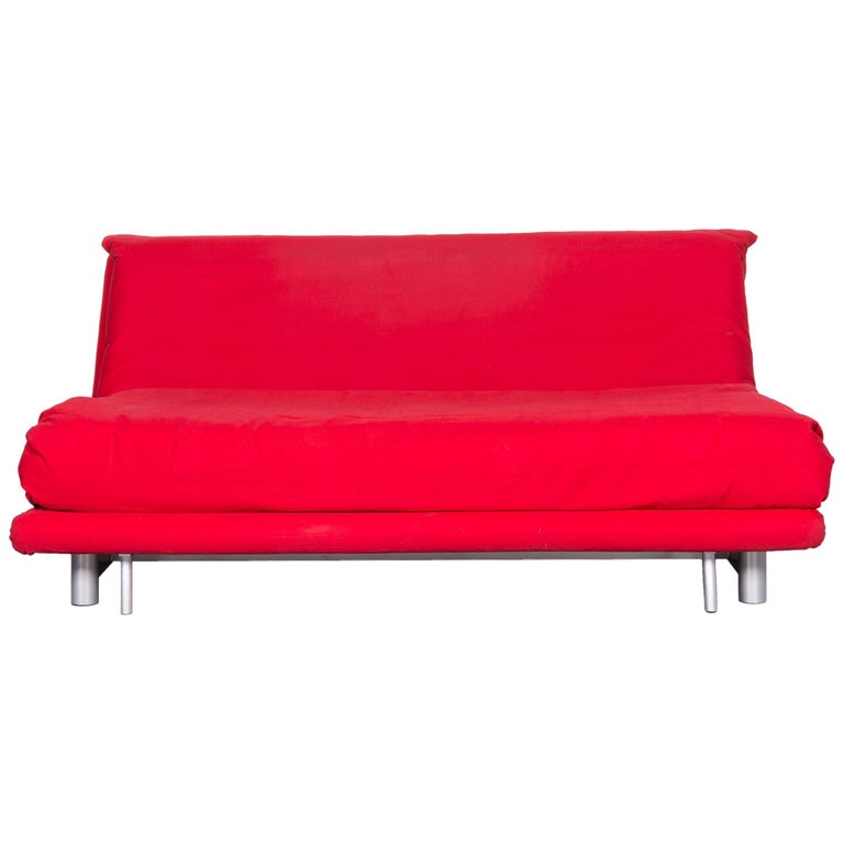 Ligne Roset Multy Fabric Sofa Bed Red Two-Seat Couch Sleep Function