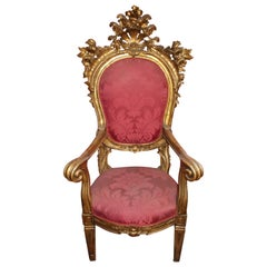 Rococo Style Carved Giltwood Large Throne-Armchair, circa 1820