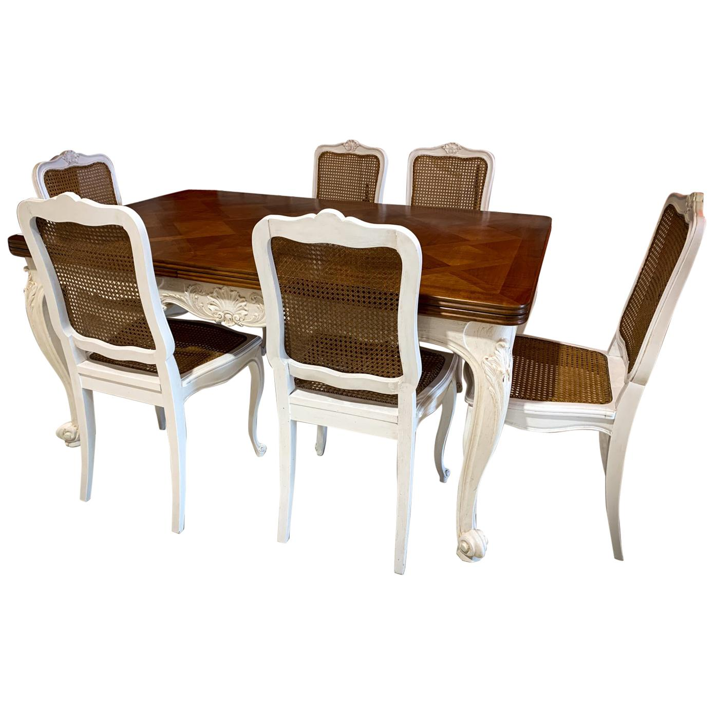 Complete Dining Room With Table, Six Chairs And French Provencal Sideboard,  1920