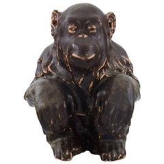 Jean Rene Gauguin, Bing & Grondahl, Stoneware Figure, Sitting Monkey