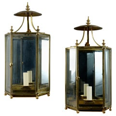Pair of George III Style Brass Hall Lanterns