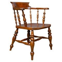 Antique Elbow Chair, Victorian, Elm, Bow-Back, Smokers, Captains Desk circa 1880