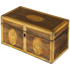 Late 18th Century George III Satinwood and Rosewood Inlaid Tea Caddy