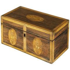 Late 18th Century George III Satinwood and Rosewood Inlaid Tea Caddy