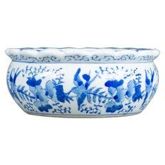 Antique Ceramic Jardinière Plant Stand, Bowl, Blue and White, Birds, circa 1890