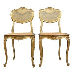 Antique Louis XV Revival Salon Chairs, French, Giltwood, Cane, circa 1900