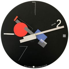 Rare Constructivist Art Time Artec Wall Clock by Canetti, USA, 1980s