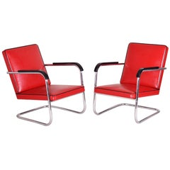 Pair of Red Tubular Thonet Armchairs by Anton Lorenz, New Leather Upholstery