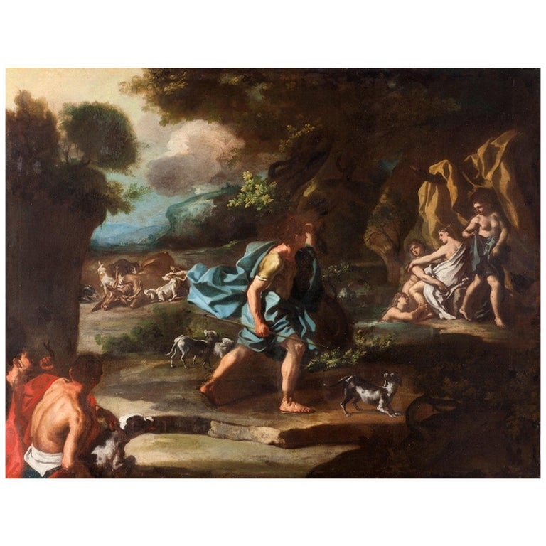 Mitologia - Francesco Solimena 17th Century Oil on Canvas Mitological Painting