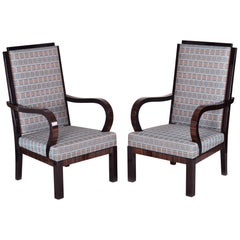 Completely Restored Pair of High Unique Macassar Art Deco Armchairs, France