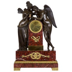 French Empire Antique Figural Bronze Mantel Clock of Psyche & Cupid, circa 1825