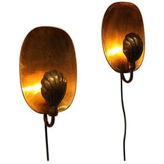 Pair of Brass Sconces by Lars Holmström for Arvika 1950s, Sweden