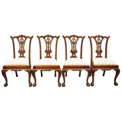Set of 4 Chippendale Style Carved Mahogany Ball and Claw Repro Dining Chairs