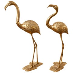 1970s Pair of Hollywood Regency Large French Brass Flamingos