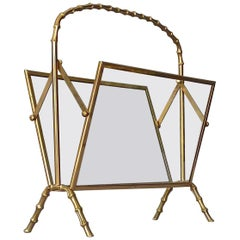 Faux Bamboo Magazine Rack Stand by Maison Bagues Brass Glass France 1950s Jansen