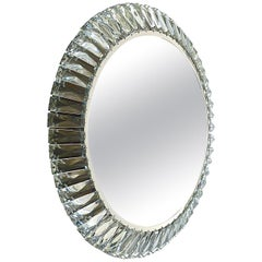 Illuminated Round Palwa Wall Mirror Chrome Faceted Crystal Glass Bakalowits