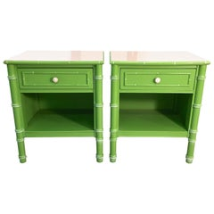 Pair of Hollywood Regency Green Bamboo Nightstands