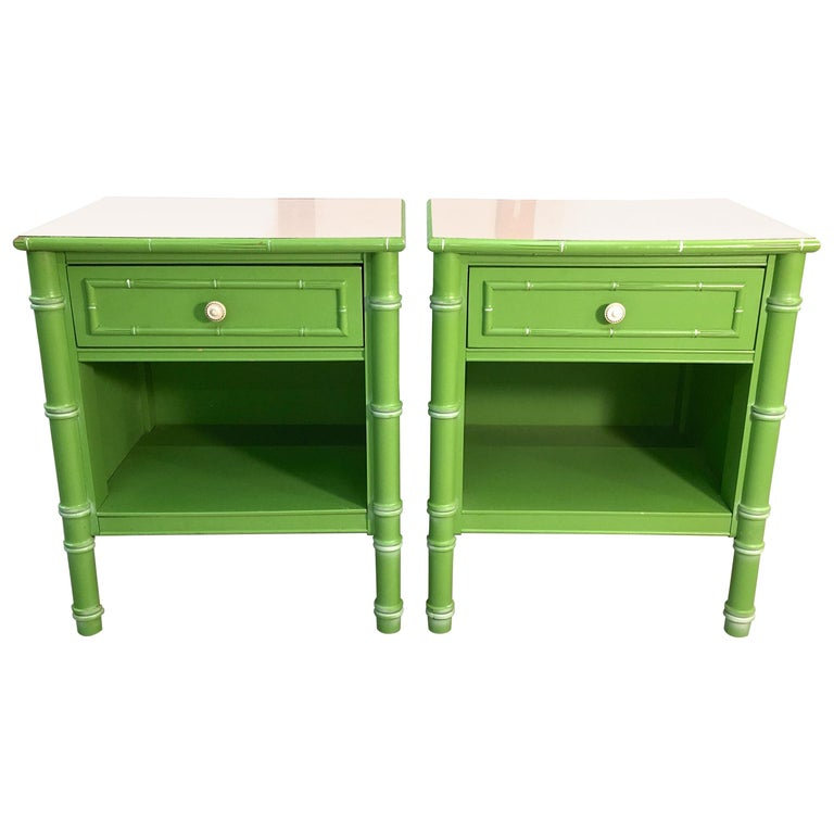 Pair of Hollywood Regency Green Bamboo Nightstands For Sale
