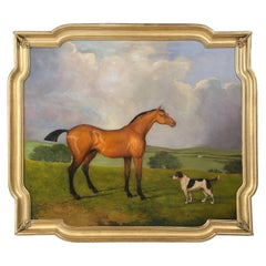 Huge European Horse and Dog Oil Painting Mounted in Antique French Gilded Frame