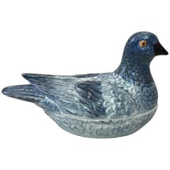 French Blue Majolica Pigeon Tureen, circa 1950