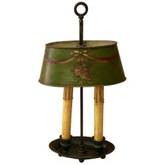 French Brass 19th Century Bouillote Lamp with Green Tole Painted Shade