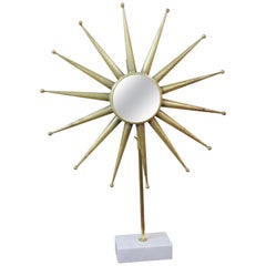 Mid-Century Modern Starburst Mirror on Stand
