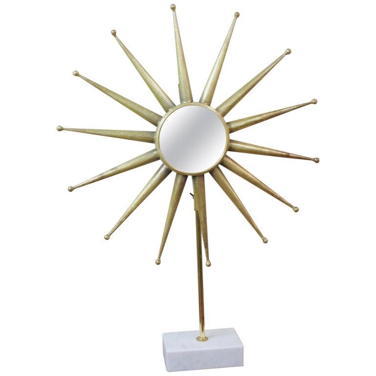 Mid Century Modern Starburst Mirror On Stand For