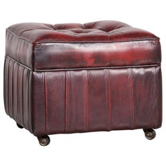 Centurion Chesterfield Leather Footstood Red Vintage