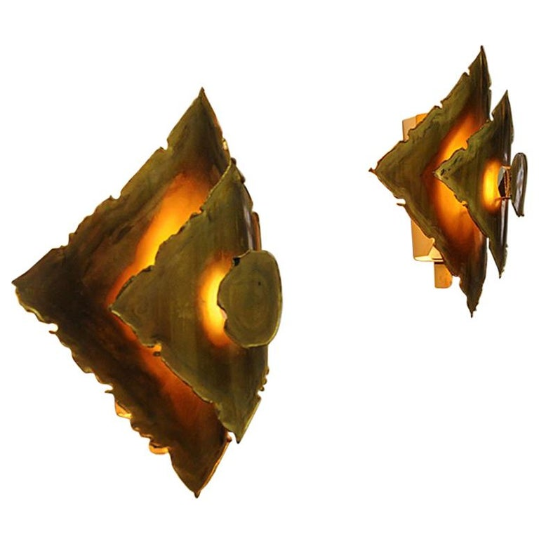 Pair of Danish Brutalist Brass Sconces by Svend Aage Holm-Sørensen, 1960s