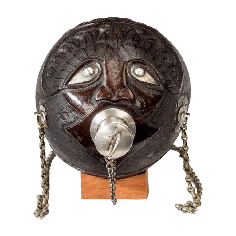 """Superb Coconut Shell """"Bugbear"""" Powder Flask with Silver Mounts"""