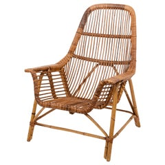 Midcentury of Bamboo and Wicker Armchair Franco Albini Style, Italy, 1960s