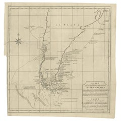 Antique Map Southern America by G. Anson, circa 1750
