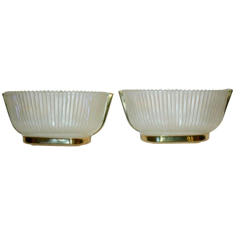 Pair of Moderne Venetian Glass Sconces