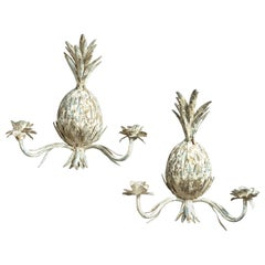 A Pair of 20th Century Tole Pineapple Wall Lights