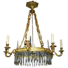 Neoclassic Swedish Chandelier with Cobalt Glass