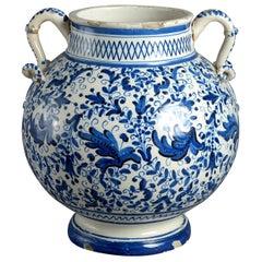 A 17th Century Blue & White Maiolica Vase