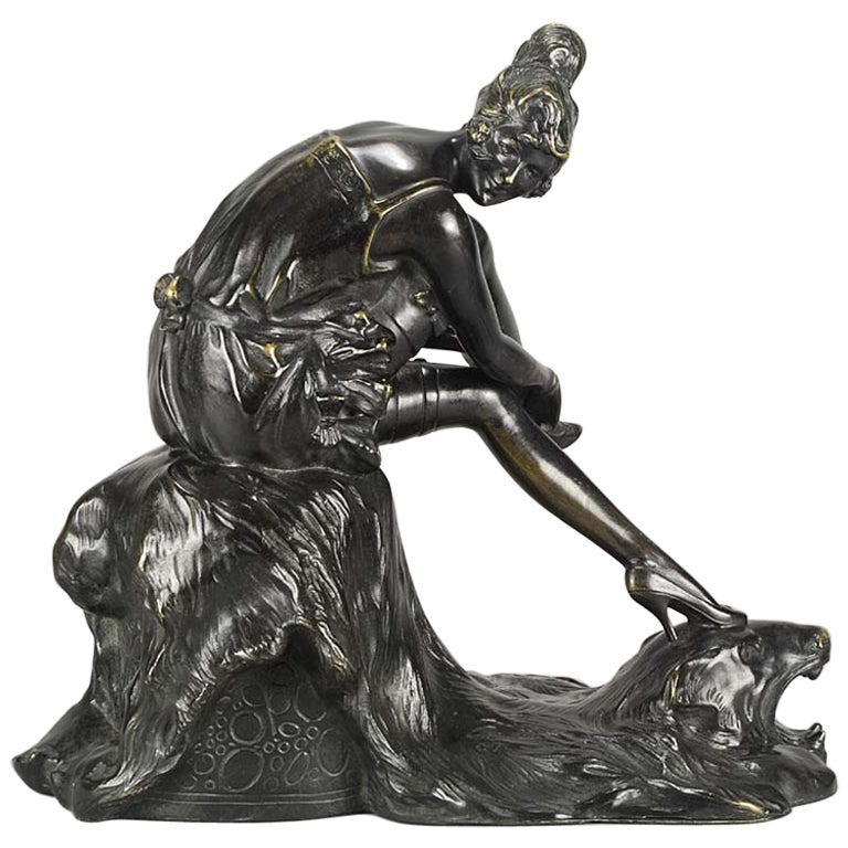 "Art Deco Bronze Figurine Entitled ""Stockings"" by Bruno Zach"