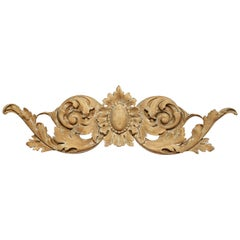18th Century French Carved Painted Wall Sculpture with Floral Center Medallion