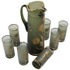 Set of Seven Glass and Pitcher by Bohemia Glass, 1970s