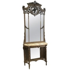 19th Century French Marble-Top Console with Giltwood Framed Mirror from 1890s