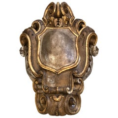 Stupendously Large and Impressive Silver and Gold Gilded Shield Wall Sculpture