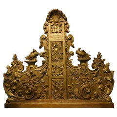 18th Century Antique Panel Gilded and Carved Headboard